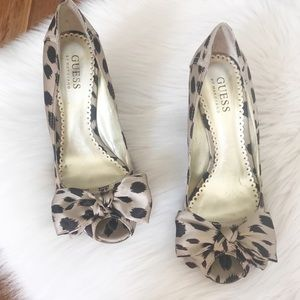 Guess Animal Print Satin Bow Wedges